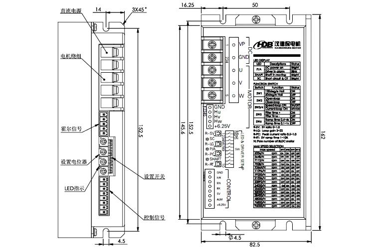 h系列 参数可设置型大电流直流无刷电机驱动器 汉德保(hdb)电机